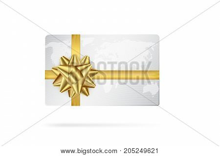 Credit or debit white card with golden ribbon. Gift card concept.