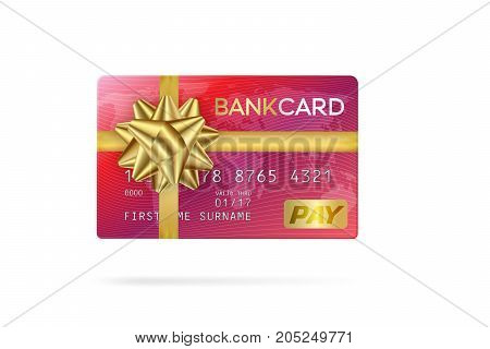 Credit or debit red card with golden ribbon. Gift card concept.