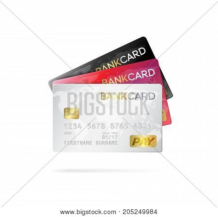 Credit or debit cards. Realistic style vector illustration