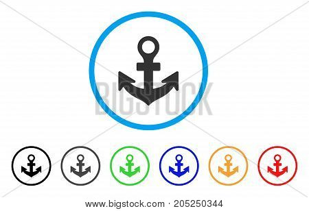 Anchor rounded icon. Style is a flat anchor grey symbol inside light blue circle with black, gray, green, blue, red, orange versions. Vector designed for web and software interfaces.