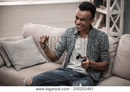 Afro American Guy At Home