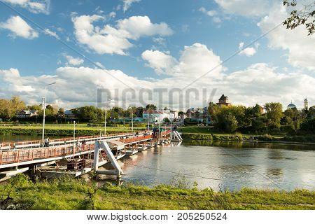 Kolomna Russia - September 16 2017: Beautiful Landscape: Bobrenevsky Floating Bridge With Pedestrian People On Moskva River Sunny Day In Kolomna Moscow Region.