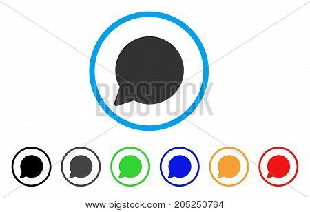Hint Balloon rounded icon. Style is a flat hint balloon grey symbol inside light blue circle with black, gray, green, blue, red, orange variants. Vector designed for web and software interfaces.