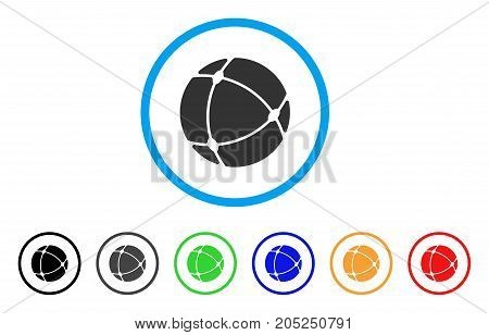 Internet Sphere rounded icon. Style is a flat internet sphere grey symbol inside light blue circle with black, gray, green, blue, red, orange color versions.