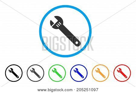 Spanner rounded icon. Style is a flat spanner grey symbol inside light blue circle with black, gray, green, blue, red, orange versions. Vector designed for web and software interfaces.