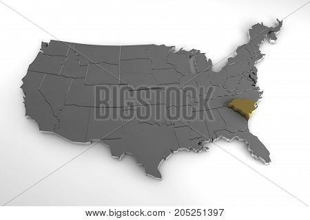 United States of America, 3d metallic map, with South Carolina state highlighted. 3d render