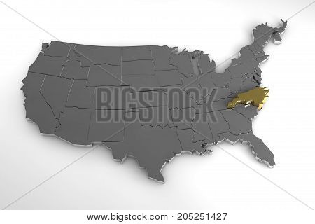 United States of America, 3d metallic map, with North Carolina state highlighted. 3d render