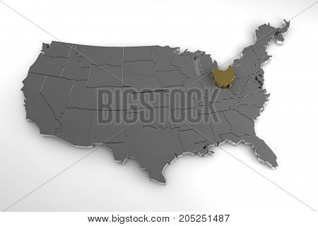 United States of America, 3d metallic map, with Ohio state highlighted. 3d render