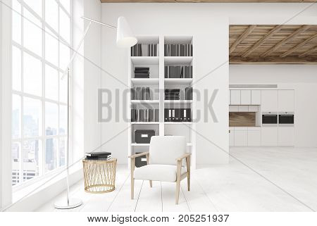 White Living Room With A Bookcase, Kitchen