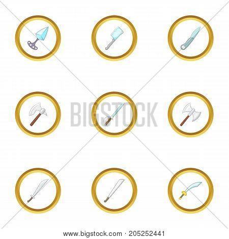 Bladed weapon icons set. Cartoon style set of 9 bladed weapon vector icons for web design