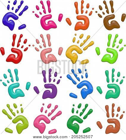 A set of colorful kids hand prints. These images have been designed in a shiny bump style resembling plastic which give a 3d look.
