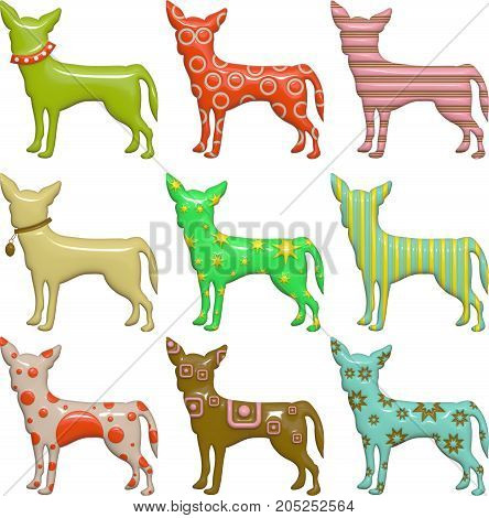 A set of colorful patterned chihuahua dogs. These images have been designed in a shiny bump style resembling plastic which give a 3d look.
