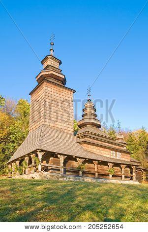Old wooden church in Pirogovo Ukraine architecture