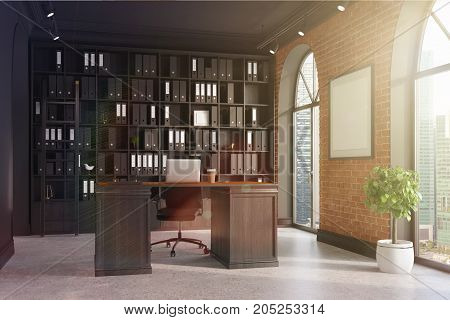 Ceo Office, Bookcase And Table Toned