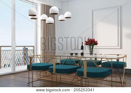White Cafe Interior, Blue Chairs Corner