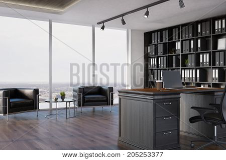 Ceo Office Interior, Bookcase, Armchairs