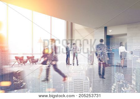 Business people are walking in an office hall with a secretary a reception counter and an elevator. 3d rendering toned image double exposure