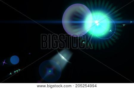 Abstract digital lens flare in black background.Simple nature flare on space