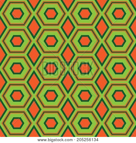 Seamless abstract vector pattern of geometric shapes with concentric hexagonal elements in green and orange colors