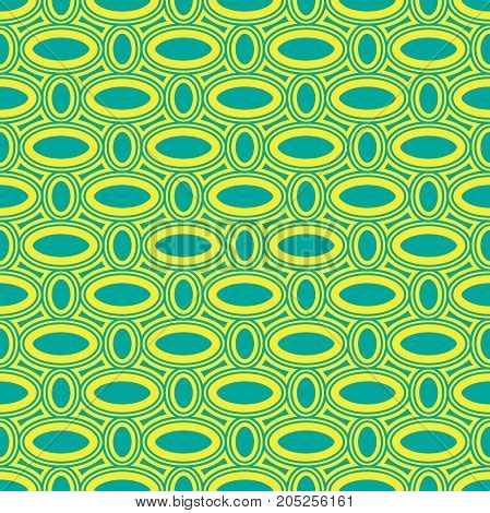 Seamless abstract geometric simple vector pattern with concentric oval shapes in blue and yellow colors