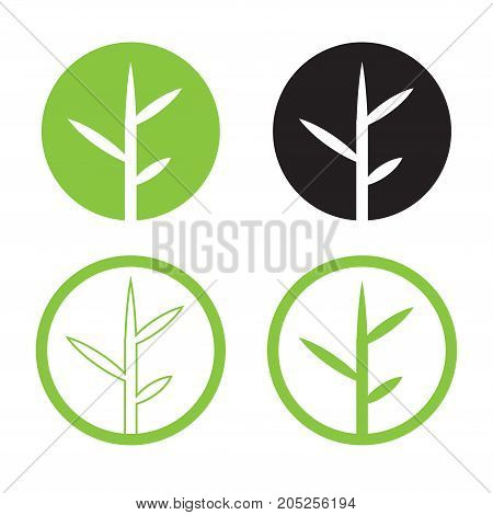 Leave logo design set vector.Nature logo in circle. bamboo logo with green and isolated white background