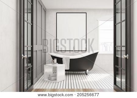 White Bathroom, Black Tub, Poster