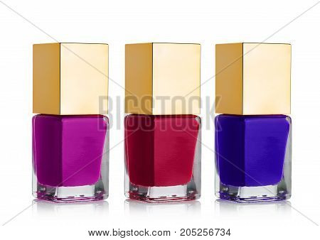 Nail Polish Cosmetic Bottles With Golden Top
