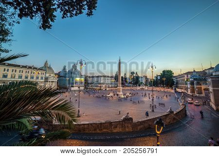 ROME ITALY - JUNE 1 2017: Panoramic evening view with tourists in Piazza Del Popolo.