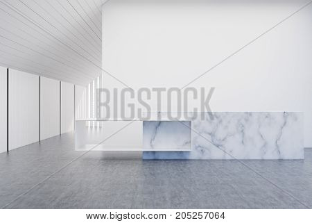 White And Wooden Wall Office, Marble Reception