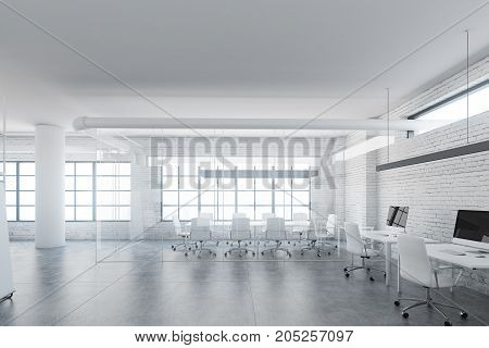 Glass Meeting Room Interior, Front View