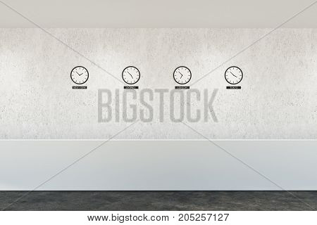 White Reception Desk And Clocks