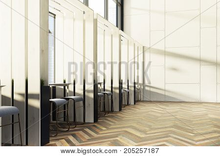 Side view of a wooden cafe interior with loft windows a woden floor panel walls and rows of long tables with chairs near them. 3d rendering mock up