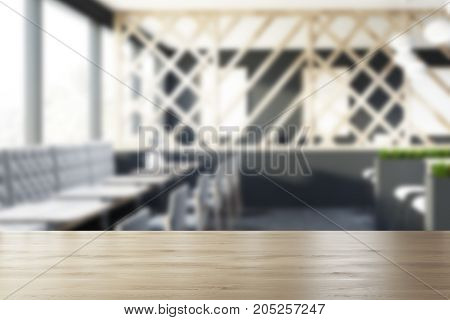 Gray Cafe Interior With A Wooden Trellis, Blur