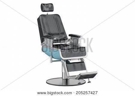 Black Barber Chair 3D rendering isolated on white background