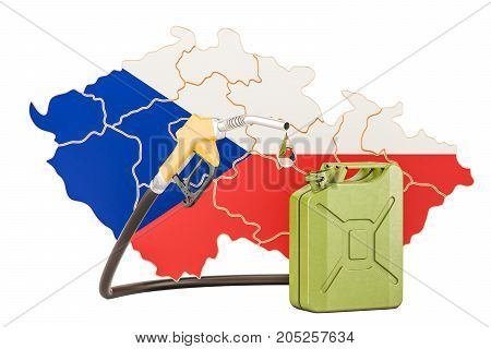 Production and trade of petrol in Czech Republic concept. 3D rendering isolated on white background