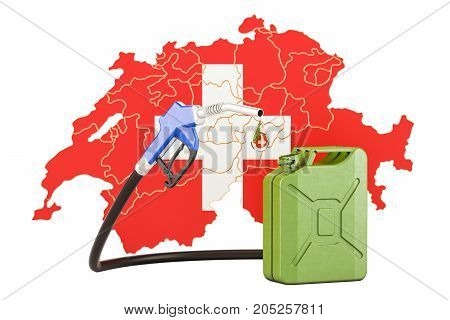 Production and trade of petrol in Switzerland concept. 3D rendering isolated on white background