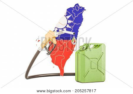 Production and trade of petrol in Taiwan concept. 3D rendering isolated on white background