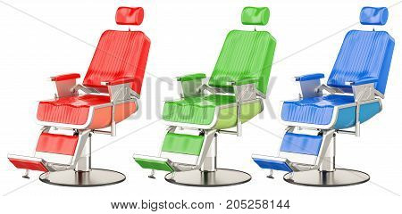 Set of colored barber chairs 3D rendering isolated on white background