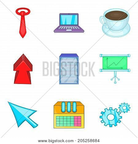 Great project icons set. Cartoon set of 9 great project vector icons for web isolated on white background