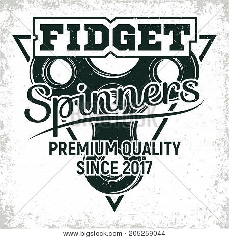 Vintage emblem of fidget spinner shop, hand spinner sign, creative design, vector