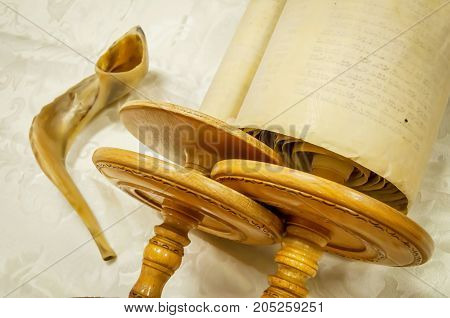 Torah scrolls and a