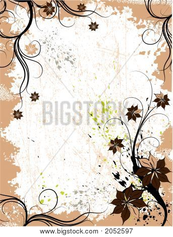 Floral grunge frame. Vecto rillustration for using in different ways poster