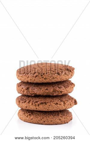 Stack Of Oatmeal Cookies Isolated On White Background