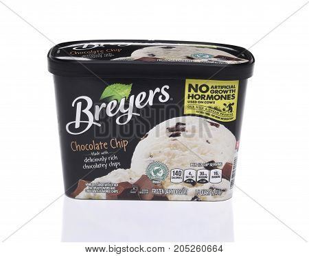 IRVINE CA - SEPTEMBER 22 2017: Breyers Chocolate Chip Ice Cream. Breyers founded in 1866 by William A. Breyer sold his ice cream from his horse and wagon in Philadelphia.