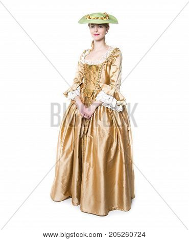 A Young beautiful woman in long medieval dress isolated on white