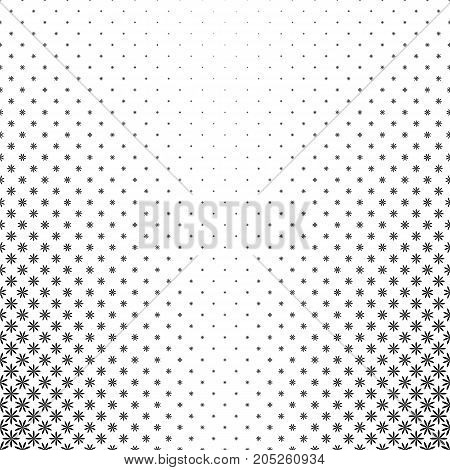 Monochrome geometric stylized flower pattern - abstract floral vector background graphic design from curved shapes