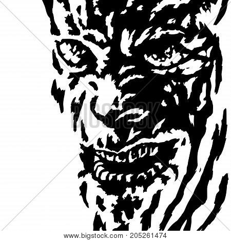 The evil face of the killer maniac watching his victim. Vector illustration. Genre of horror. Scary character head for halloween.