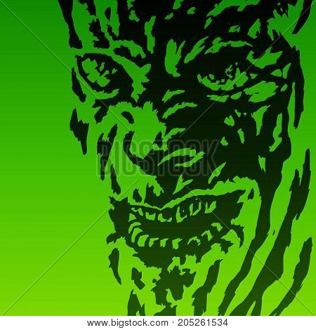 Scary face of the demon. Vector illustration. Genre of horror. Terrible character head for halloween.