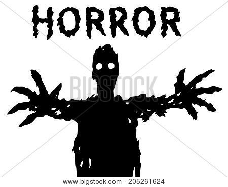 A dark silhouette with glowing eyes draws his hands. The horror genre. Scary halloween character. Vector illustration.