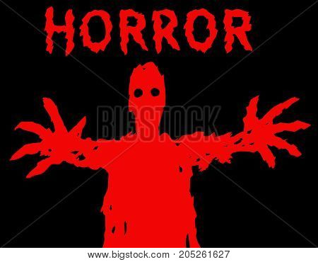 A dark red silhouette with glowing eyes draws his hands. The horror genre. Scary halloween character. Vector illustration.